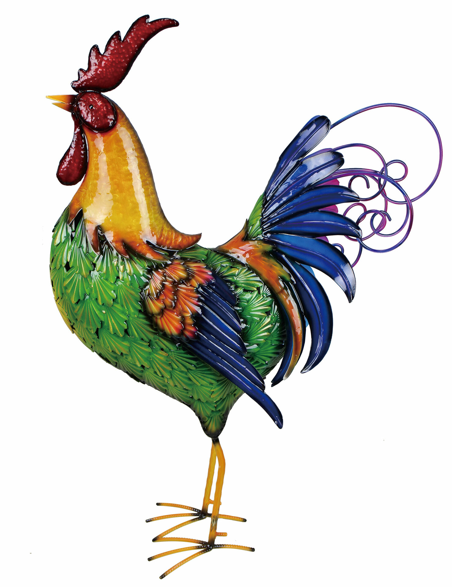 Multi With Solar Rooster Decor For Home Metal Chicken Outdoor Statues For Garden Yard Art Led Rooster Sculptures