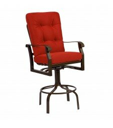 Cortland Swivel 34 Patio Bar Stool with Cushion by Woodard