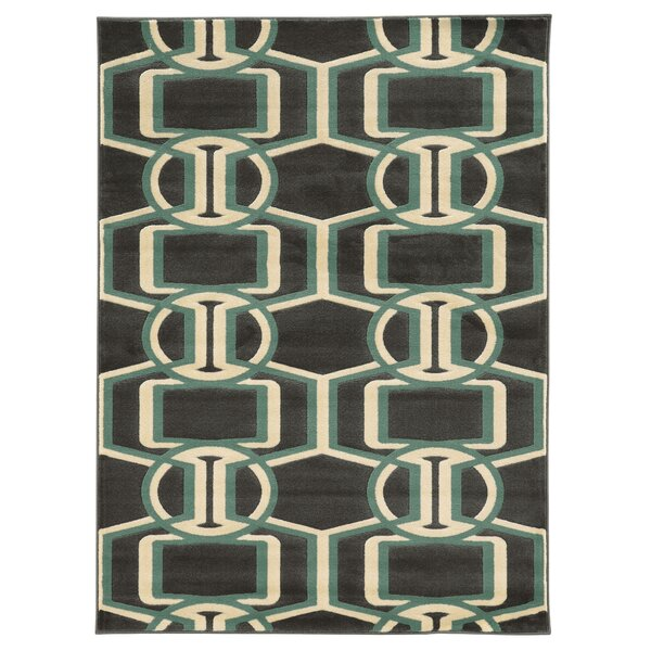 Danby Chocolate/Turquoise Area Rug by Threadbind