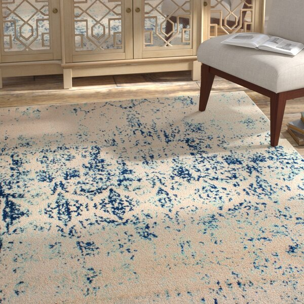 Benoit Marble Distressed Ivory/Blue Area Rug by Bungalow Rose
