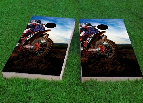Moto Riding in Mud Cornhole Game (Set of 2) by Custom Cornhole Boards
