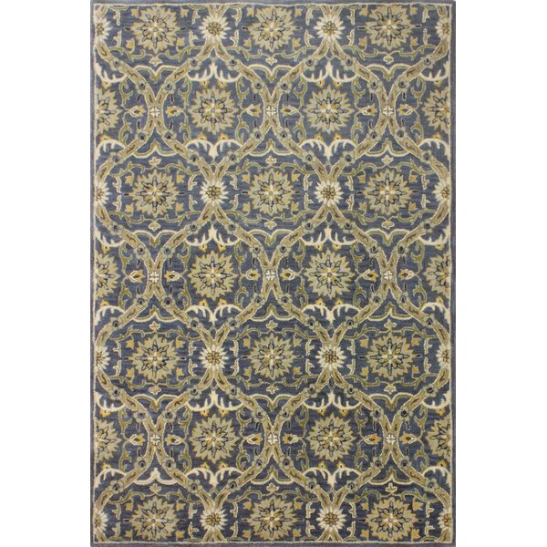 Bessie Hand-Tufted Wool Blue Area Rug by Red Barrel Studio