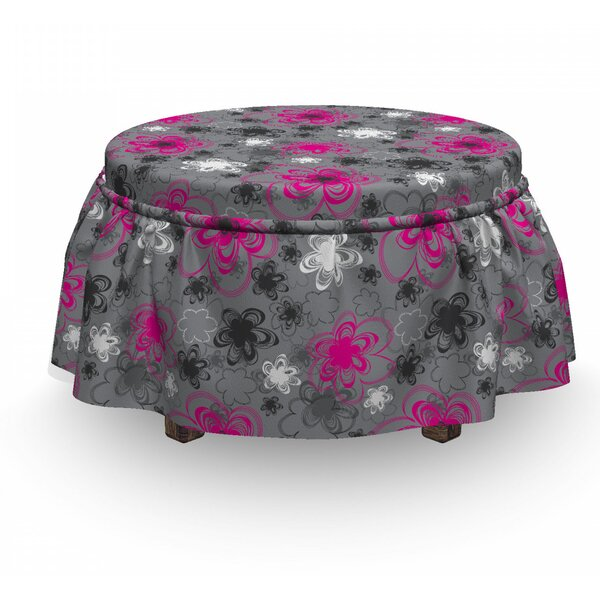 Sale Price Vintage Floral Blossoms 2 Piece Box Cushion Ottoman Slipcover Set