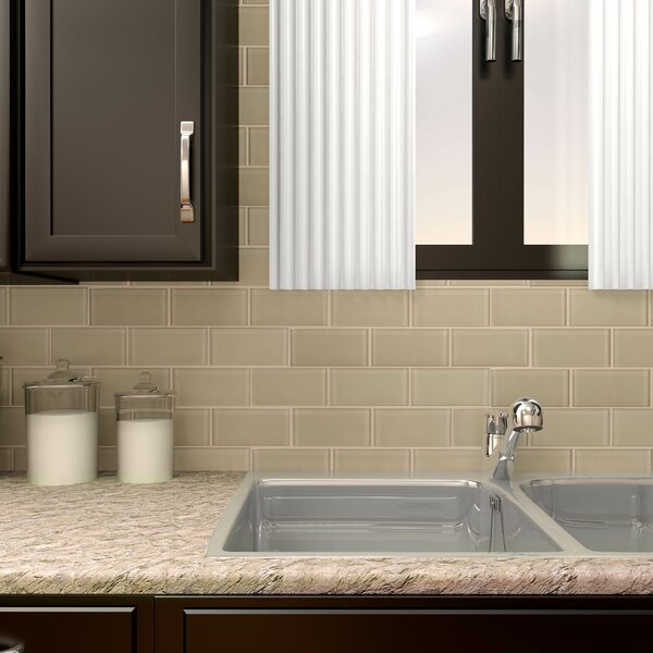 Sierra 3 x 6 Glass Subway Tile in Sandstone by EliteTile