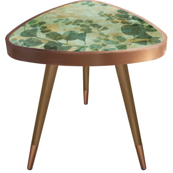 Mazur Print Triangle Wooden End Table by Wrought Studio