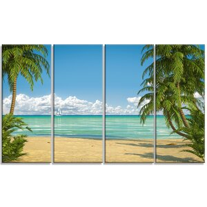 'Palms at Caribbean Beach' 4 Piece Photographic Print on Wrapped Canvas Set by Design Art