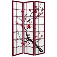 71 x 47.25 Tall Blossom 3 Panel Room Divider by Oriental Furniture