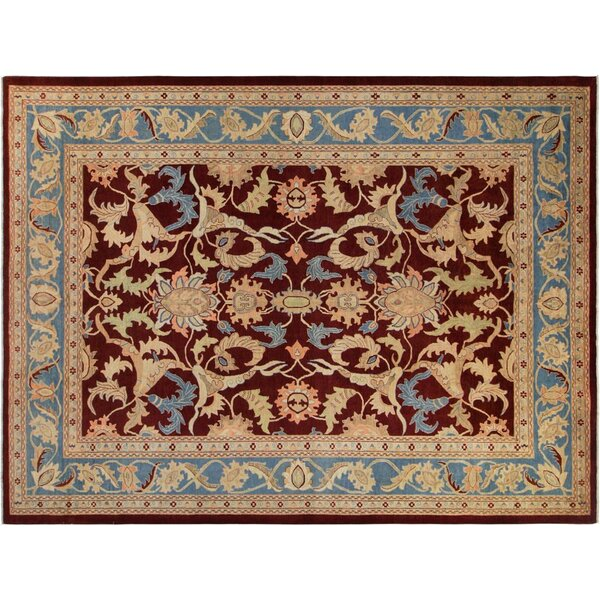 Xenos Hand-Knotted Wool Burgundy/Light Blue Area Rug by Astoria Grand