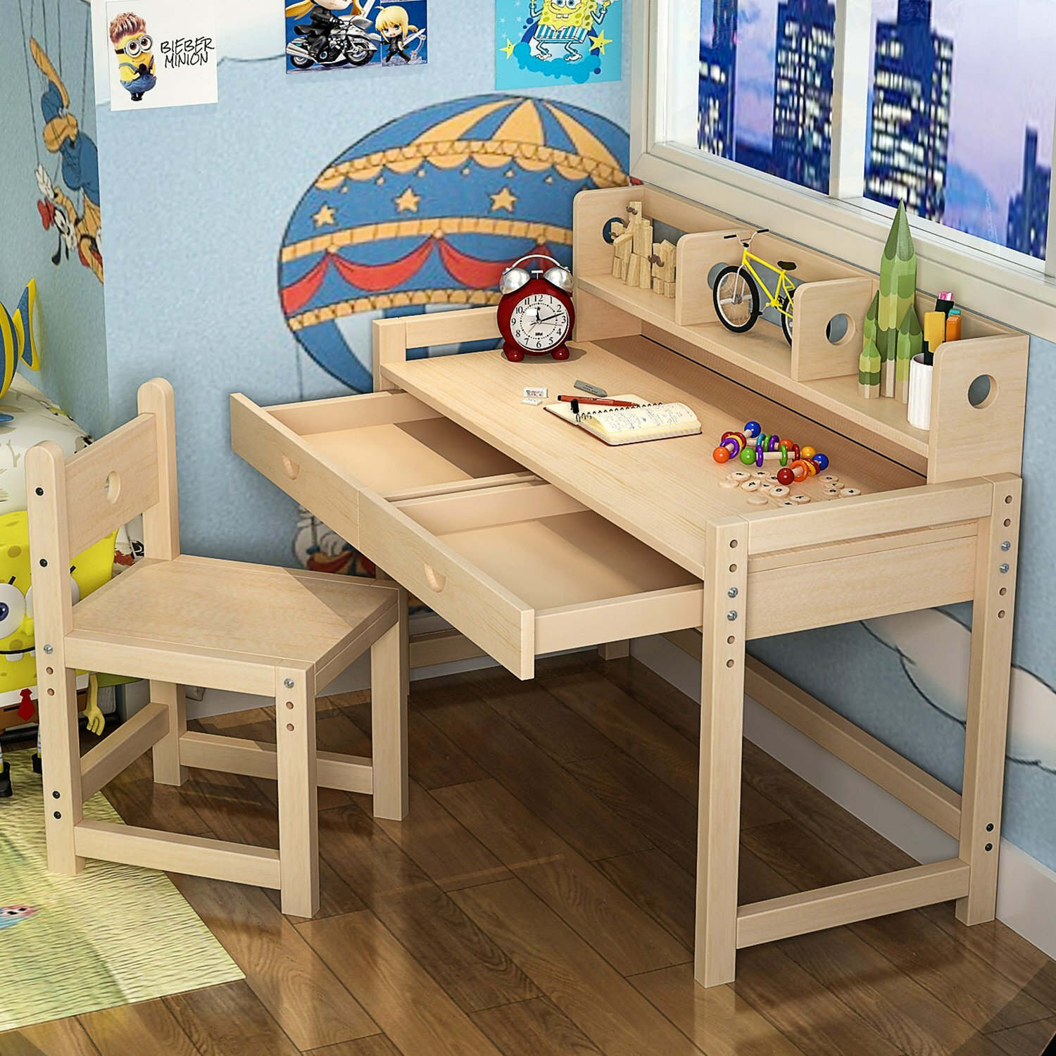 Harriet Bee Willenhall Solid Wood Kid Study Desk with Chair Set