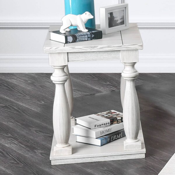 Jaque Solid Wood Floor Shelf End Table By Highland Dunes
