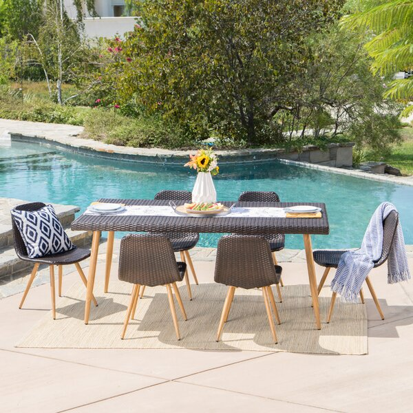 Outdoor Wicker 7 Piece Dining Set by Langley Street
