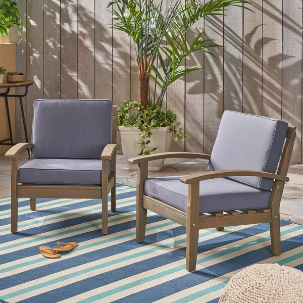 Claytor Patio Chair with Cushions (Set of 2) by Union Rustic Union Rustic