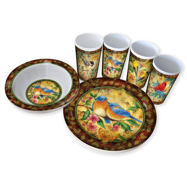 Nature Walk Melamine 12 Piece Dinnerware Set, Service for 4 by MotorHead Products