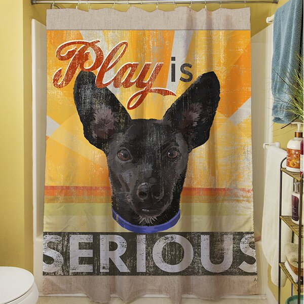 Dog Days - Little Black Pup Shower Curtain by Manual Woodworkers & Weavers