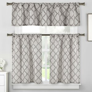 blocker 3 piece kitchen curtain set