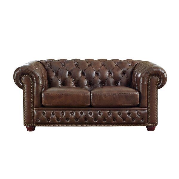 Worcester Leather Chesterfield Loveseat by Trent Austin Design