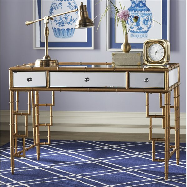 Kluge Mirror Top Desk With Bamboo Frame Writing Desk by Everly Quinn