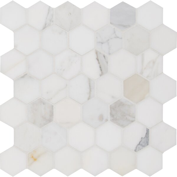 Calacatta Hexagon Polished 2 x 2 Marble Mosaic Tile in White by MSI