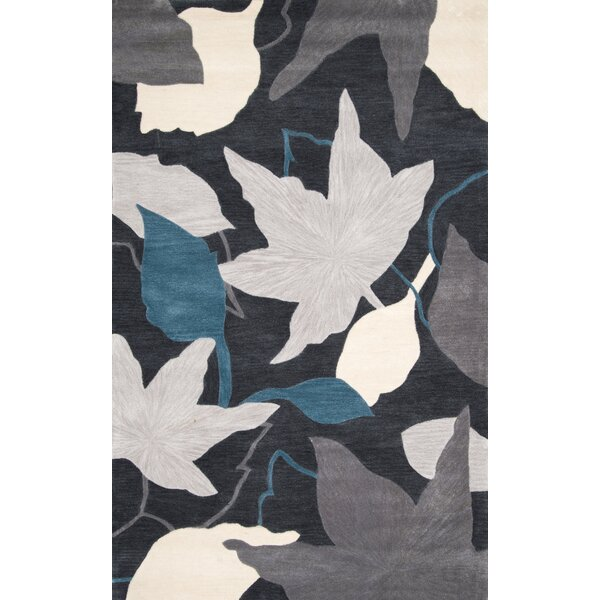 Sherwood Leaves Hand-Tufted Blue Area Rug by nuLOOM