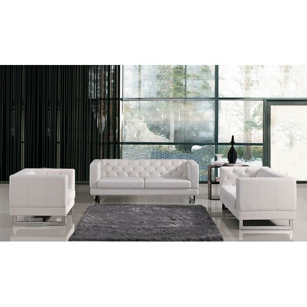 Alsatia 3 Piece Leather Living Room Set By Wade Logan