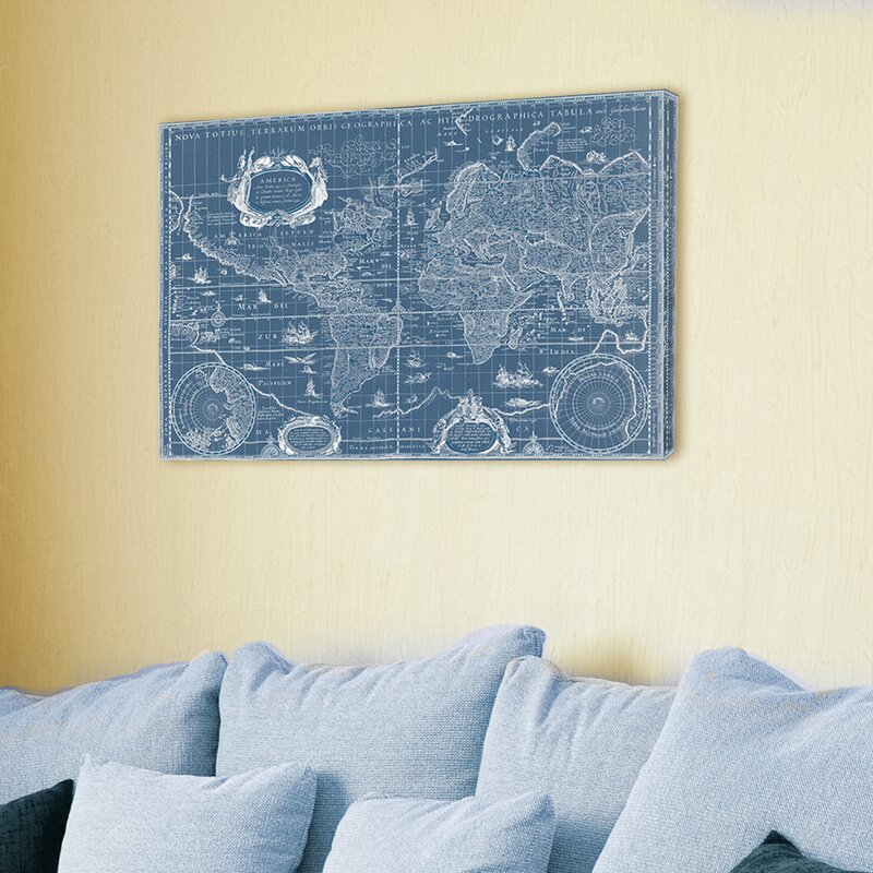 Stupell industries vintage blueprint world map graphic art on canvas vintage blueprint world map graphic art on canvas malvernweather Choice Image
