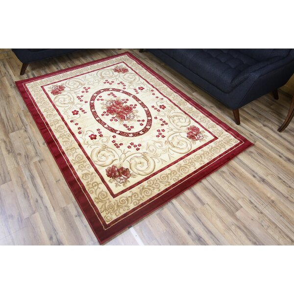 Passion Red/Cream Area Rug by Beyan Signature