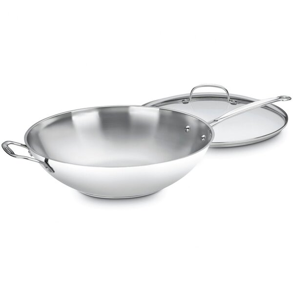 Chef's Classic Stainless Steel Stir Fry Wok with Lid by Cuisinart