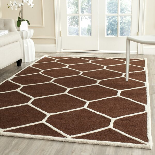 Martins Hand-Tufted Wool Dark Brown Area Rug by Wrought Studio