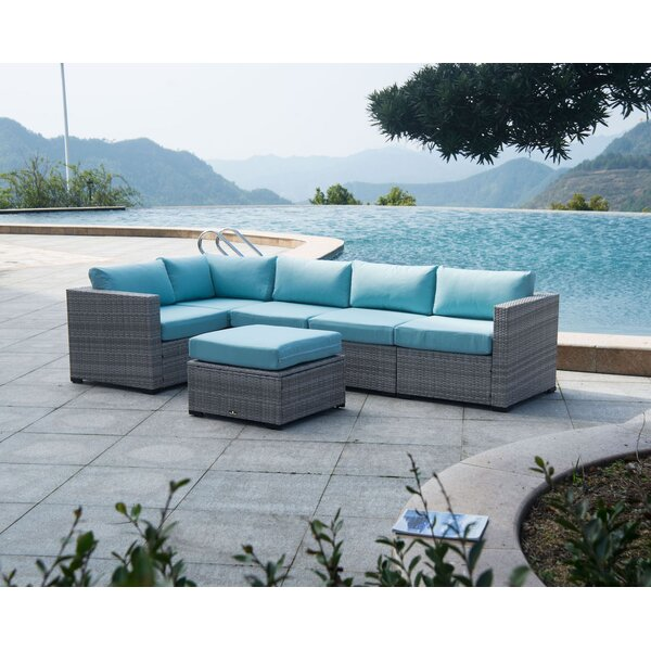 Clint Outdoor 6 Piece Rattan Sectional Seating Group with Cushions by Alcott Hill
