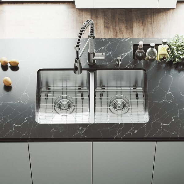 Newhall 29 L x 19 W Double Basin Undermount Kitchen Sink with Grid and Strainer