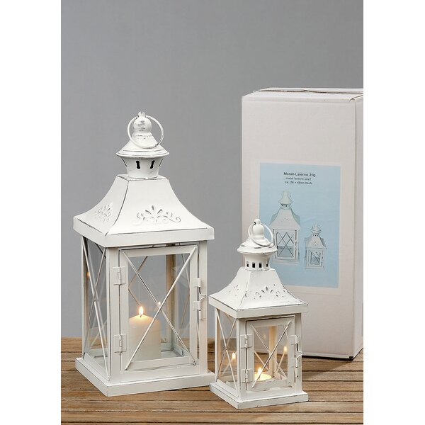 Bellwood 2 Piece Iron and Glass Lantern Set by Ophelia & Co.