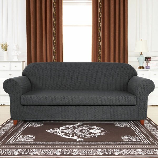 High Stretch Jacquard Box Cushion Loveseat Slipcover By Winston Porter
