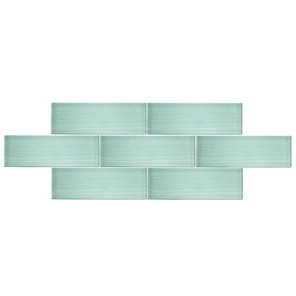 4 x 12 Glass Subway Tile in Spring Blue by Vicci Design
