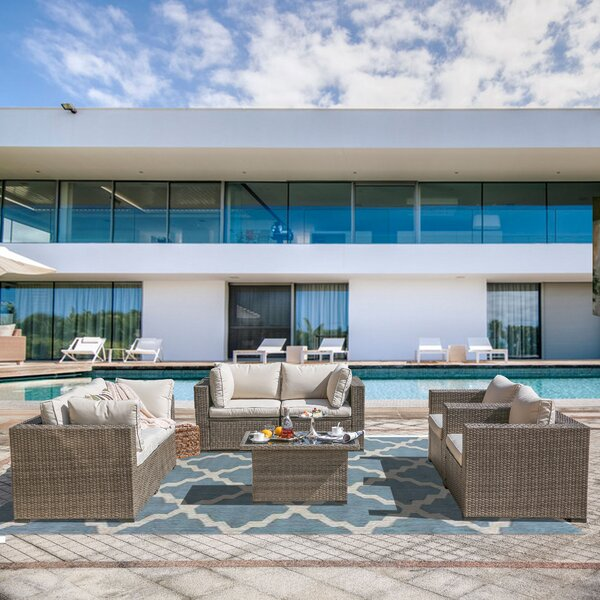 Wragby 5 Piece Outdoor Sectional Seating Group With Cushions By Sol 72 Outdoor by Sol 72 Outdoor Savings