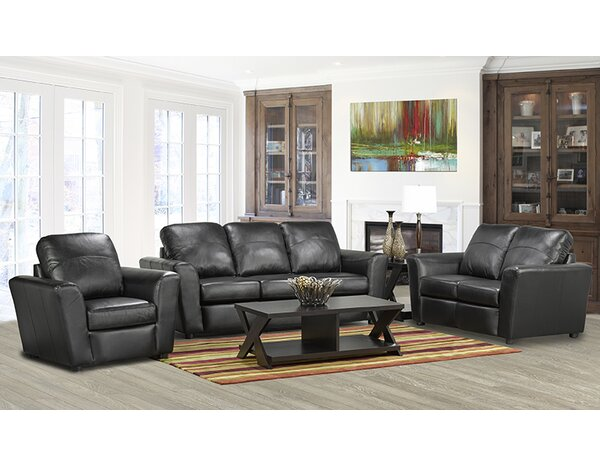 Lidiya Leather 3 Piece Living Room Set by Red Barrel Studio
