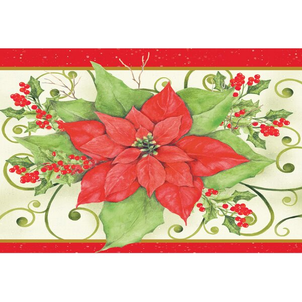 Christmas Flower Doormat by The Holiday Aisle