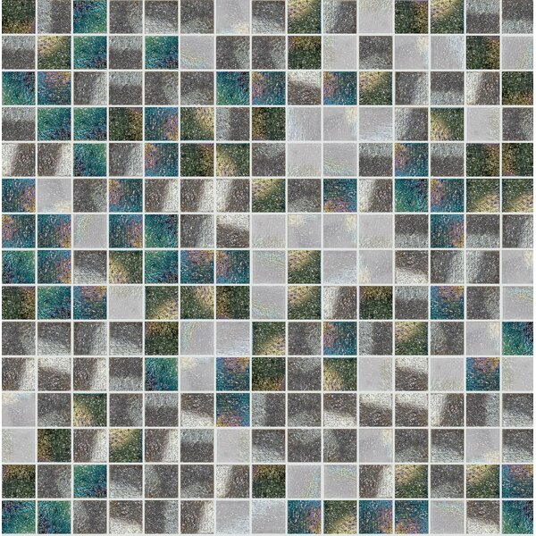 Standard Mix 13 x 13 Glass Mosaic Tile in Gray/Green by Mosaic Loft