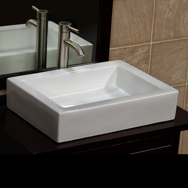 Ceramic Rectangular Vessel Bathroom Sink by Vanite