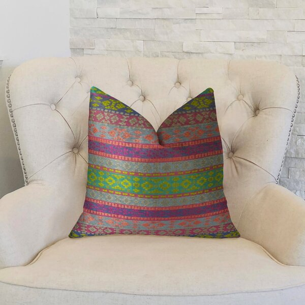 Fuchsia Stripes Double Sided Throw Pillow by Plutus Brands