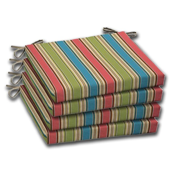 Stripe Indoor/Outdoor Dining Dining Chair Cushion (Set of 4) by Comfort Classics Inc.