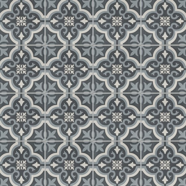 Lima 7.75 x 7.75 Ceramic Field Tile in Charcoal Gray/White by EliteTile