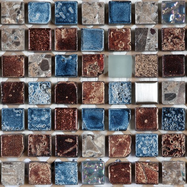12 x 12 Natural Stone and Glass Mosaic Tile