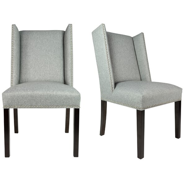 Winged Nail Head Spring Upholstered Side Chair (Set of 2) by Sole Designs