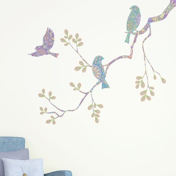 Pastel Birds and Tree Branch Wall Decal by My Wonderful Walls