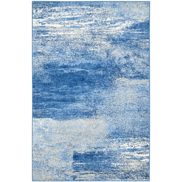 Costa Mesa Power Loomed Silver/Blue Area Rug by Tr