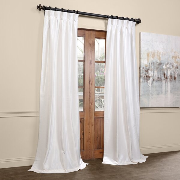Forbell Solid Blackout Vintage Textured Faux Dupioni Thermal Pinch Pleat Single Curtain Panel by Willa Arlo Interiors