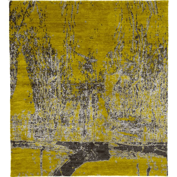 One-of-a-Kind Semaj Hand-Knotted Traditional Style Yellow 9' x 12' Wool Area Rug