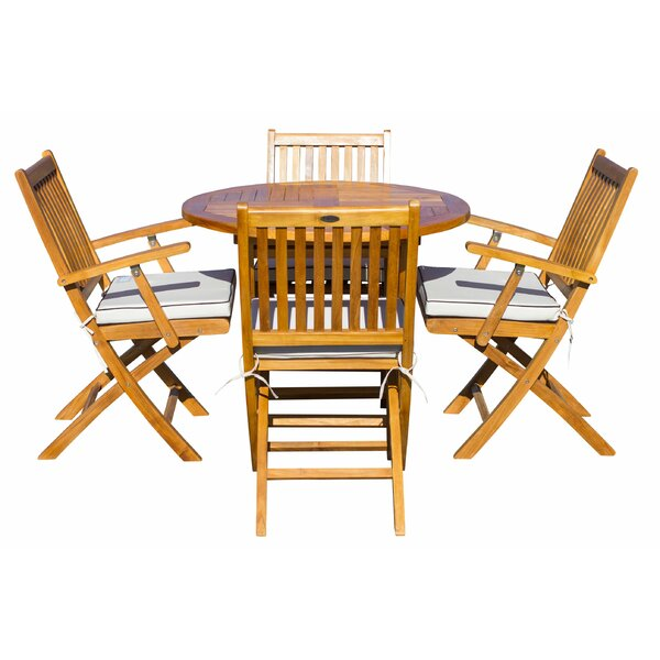 Villanueva 5 Piece Teak Dining Set with Sunbrella Cushions Bayou Breeze W001927556