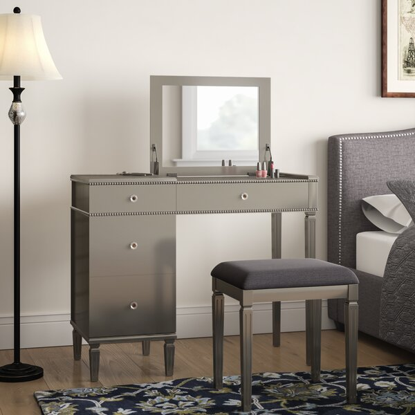 Balamore Vanity Set with Stool and Mirror by Darby Home Co Darby Home Co