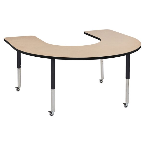 Maple Top Horseshoe Thermo-Fused Adjustable 66 x 60 Horseshoe Activity Table by ECR4kids